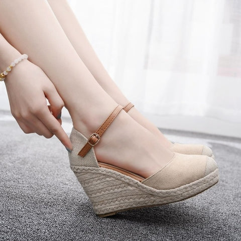 High Wedge Heel Ankle Strap Canvas Shoes