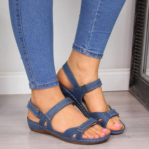 Summer Open Toe Flat Faux Leather Sandals