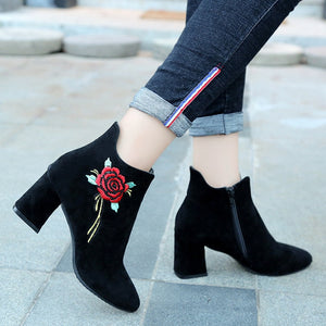 Pointed Toe Floral Embroidered Ankle Boots