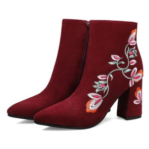 Ladies Embroidery Square Heel Ankle Boots