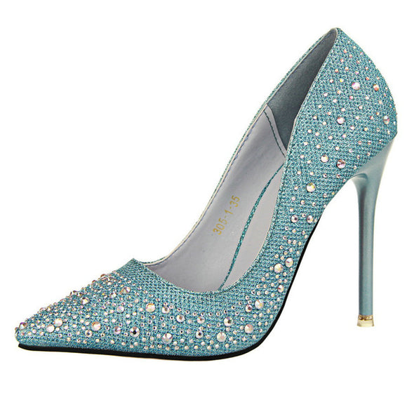 Silver Rhinestone Crystal Pumps - Nads Shoes