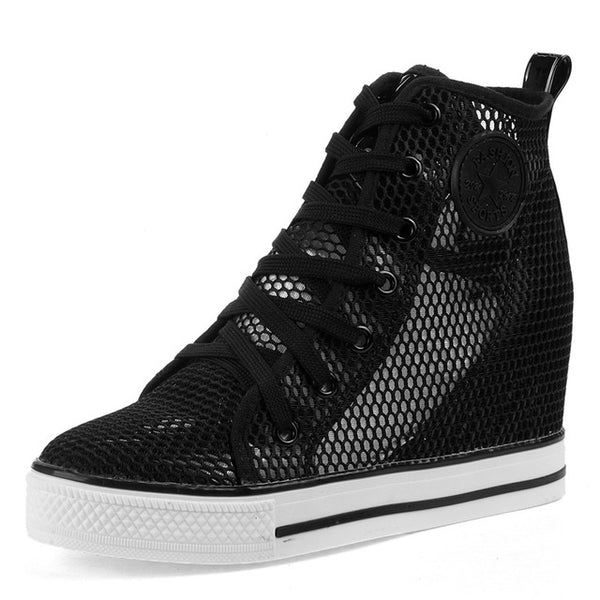 High Top Breathable Wedge Platform Shoes - Nads Shoes
