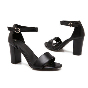 Summer Open Toe Ankle Strap Chunky High Heel Sandals - Nads Shoes
