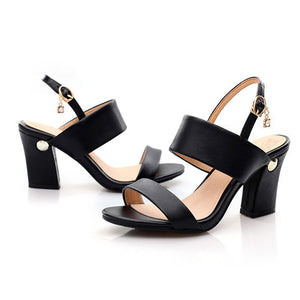 Open Toe Chunky Leather High Heel Shoes