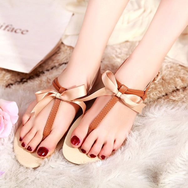 Summer Flat Beach Thong Sandals With Bow - Nads Shoes