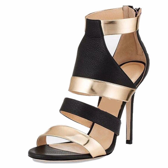 Summer Fashion Sexy High Heel Sandals with Back Zipper - Nads Shoes