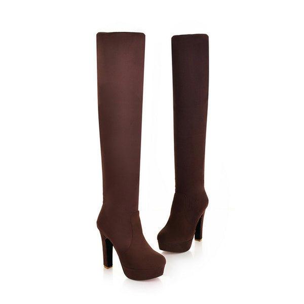 Fashion Over the Knee Thin Square Boots - Nads Shoes