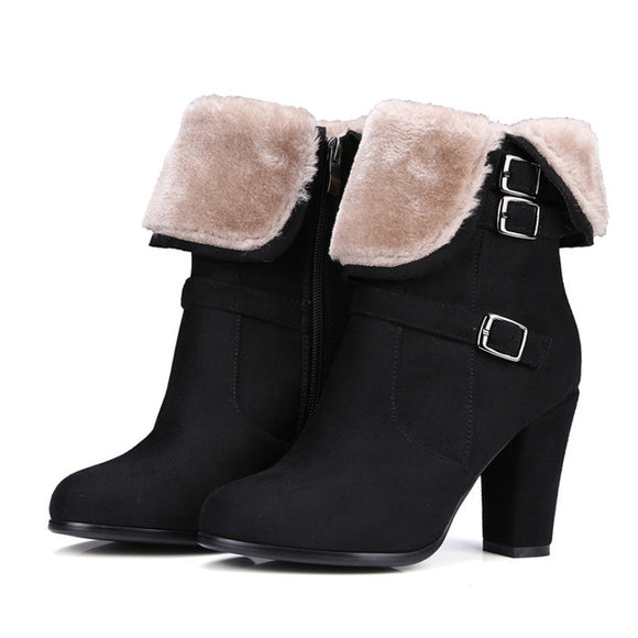 Ankle Winter Boots With Zipper - Black