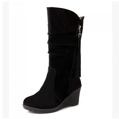 Women's Winter Mid Calf Wedge Boots - Nads Shoes