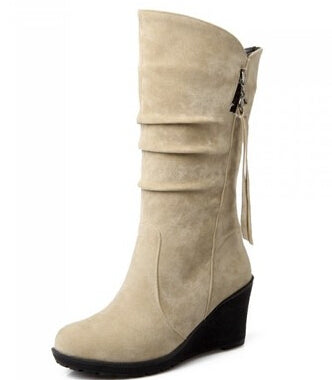 60573ad10c2 ... Women s Winter Mid Calf Wedge Boots - Nads Shoes ...