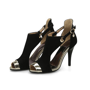 Peep Toe Sued Thin High Heel Shoes - Nads Shoes