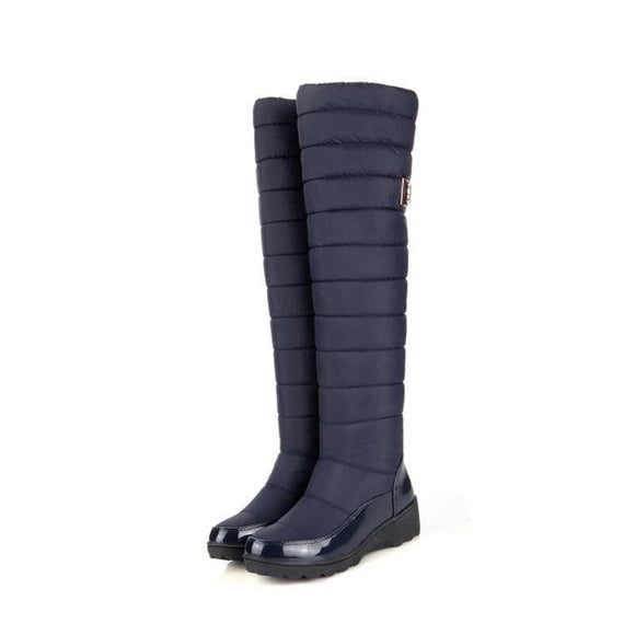 Warm Knee High Round Toe Snow Boots - Nads Shoes