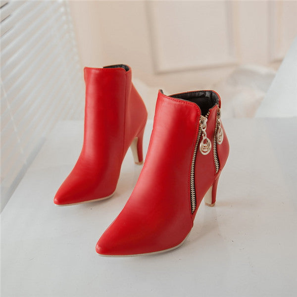 Women's Winter Ankle Boots With Zipper - Nads Shoes