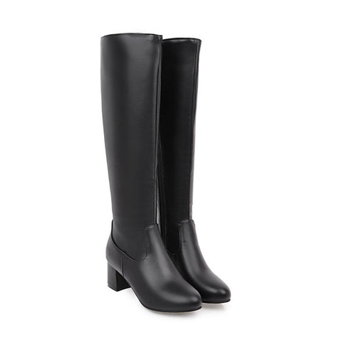 Winter Square Heel Knee High Boots - Nads Shoes