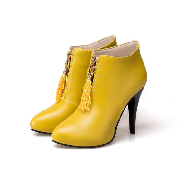 Ankle High Heel Pointed Toe Female Boots - Yellow