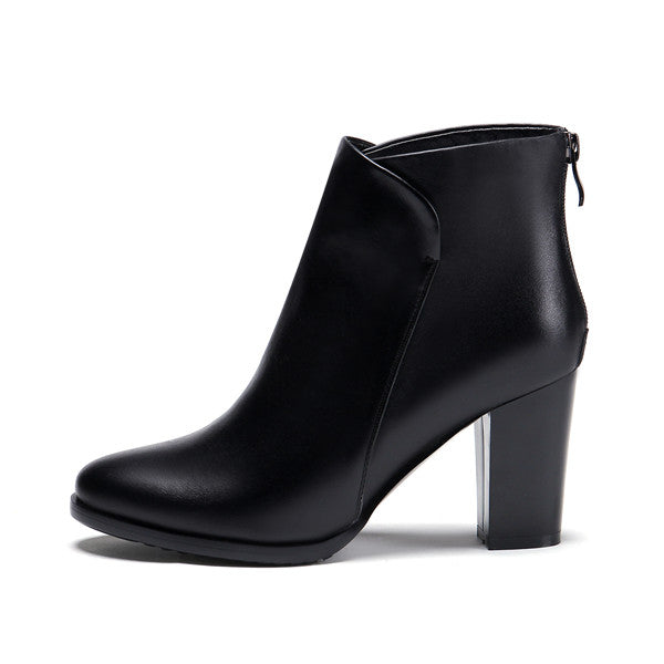Thick High Heel Leather Boots - Nads Shoes