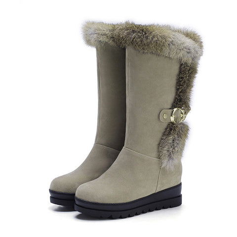 Platform Mid Calf Suede Ladies Winter Boots - Nads Shoes