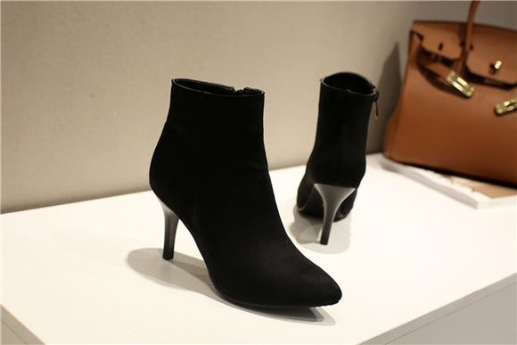 Women's Ankle Boots With Zipper Thin Heel - Nads Shoes