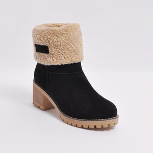 Female Winter Snow Boots With Square High Heels - Nads Shoes