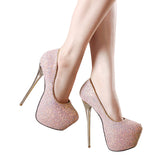 Women's Thin High Heel Platform Pumps - Nads Shoes