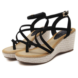 Ladies Ankle Strap Open Toe Wedge Sandals - Nads Shoes