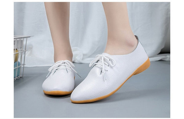 Women's Genuine Leather Lace-Up Oxford Shoes - Nads Shoes