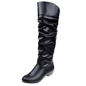 Women's Knee-High Low Heel Leather Party Boots - Nads Shoes