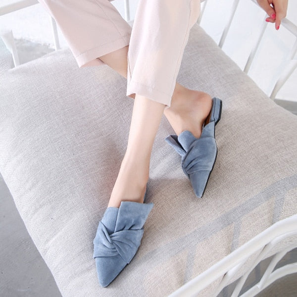 Elegant Bowtie Women's Pointed Toe Flats - Nads Shoes
