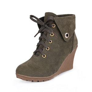 High Wedge Heel Lace Up Boots