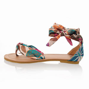 Casual Flower Print Ankle Strap Sandals - Nads Shoes