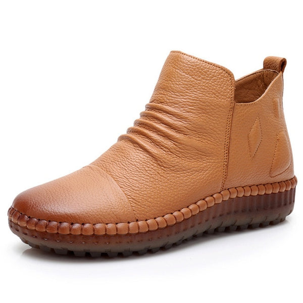 Genuine Leather Vintage Flat Casual Boots - Nads Shoes