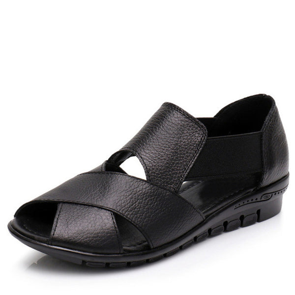 Genuine Leather Low Wedge Heel Sandals - Nads Shoes