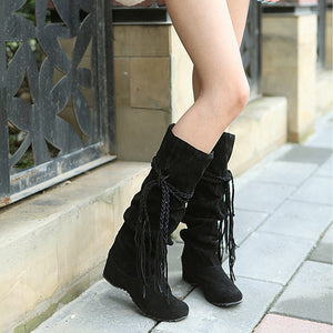 Women's Thigh High Flat Tassel Boots - Nads Shoes