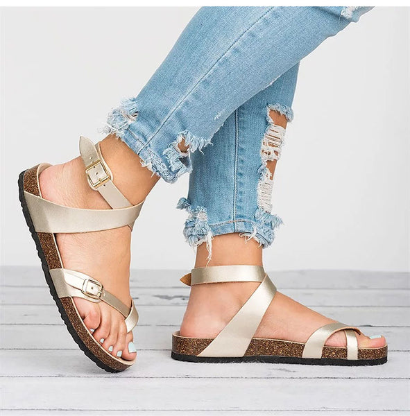 Flat Leather Ladies Summer Sandals - Nads Shoes