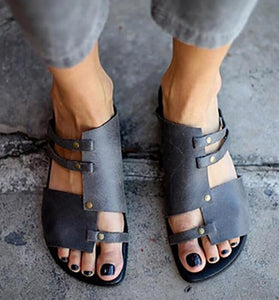 Fancy Pancy Leather PU Slip On Sandals - Nads Shoes