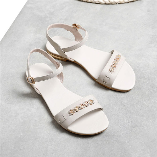 Genuine Leather Rhinestone Flat Sandals - Nads Shoes