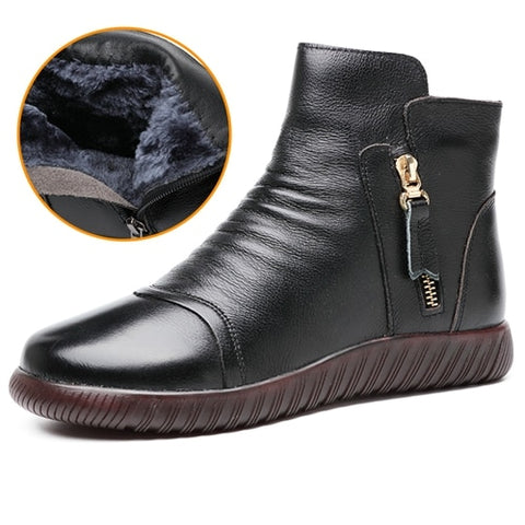 Women's Flat Ankle Casual Leather Boots - Nads Shoes