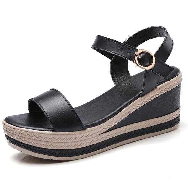 Genuine Leather High Heel Wedge Sandals - Nads Shoes