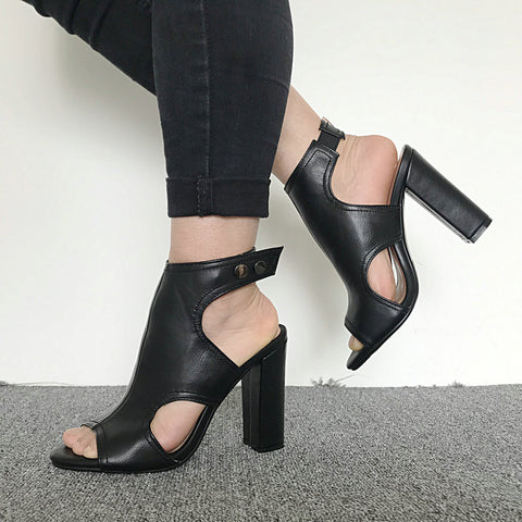 Open Toe Block Heel Sandals - Nads Shoes