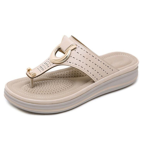 Ladies Flip Flop Metal Sandals - Nads Shoes