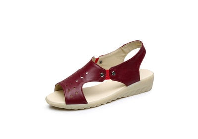 Genuine Leather Low Wedge Sandals - Nads Shoes