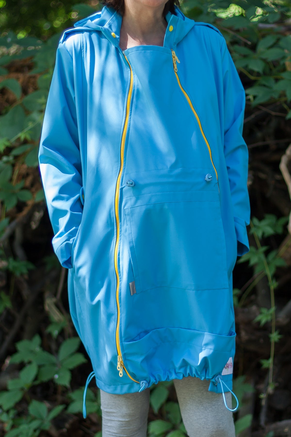 ebeae9d0b23b0 Thin softShell BLUE/YELLOW baby wearing and maternity coat – Carry ...