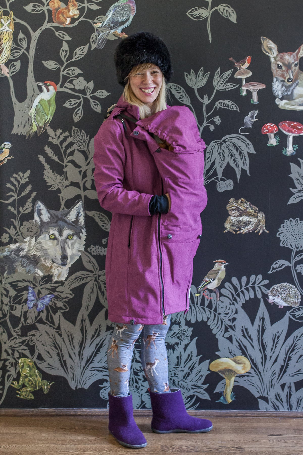 e3e696be9 Soldout - SoftShell PURPLE baby wearing and maternity coat – Carry ...