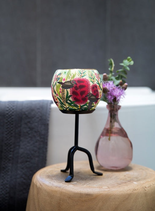 Australian Wildflowers Handmade Candle Holder -  Bottle Brush