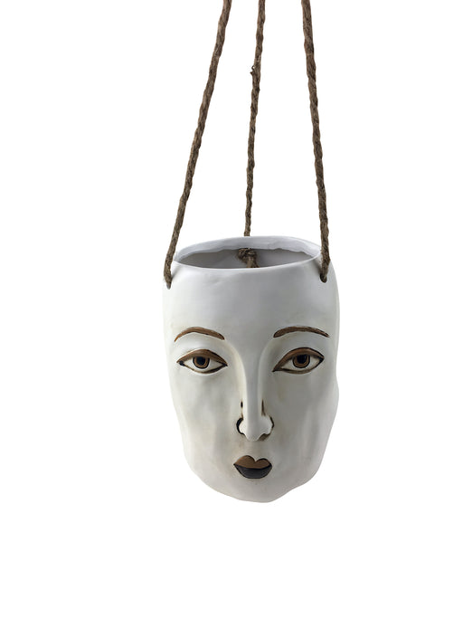 Modern Face Hanging Planter - White