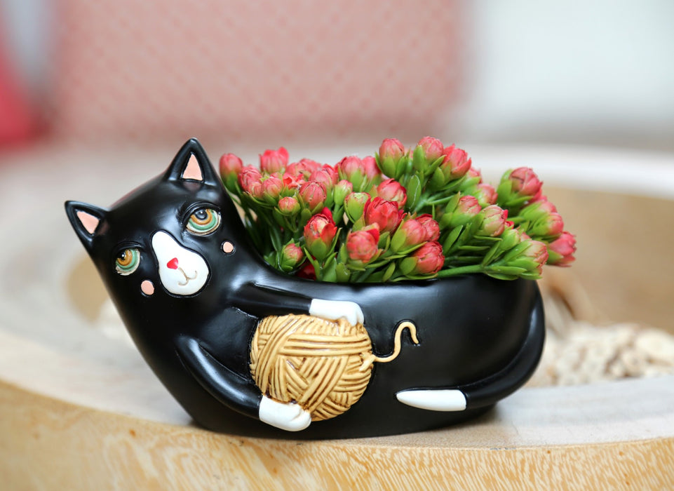 Black Cat with Yarn Planter - Baby