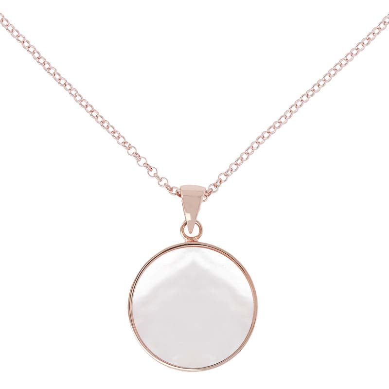 Alba Mother of Pearls Disc Necklace Golden Rose