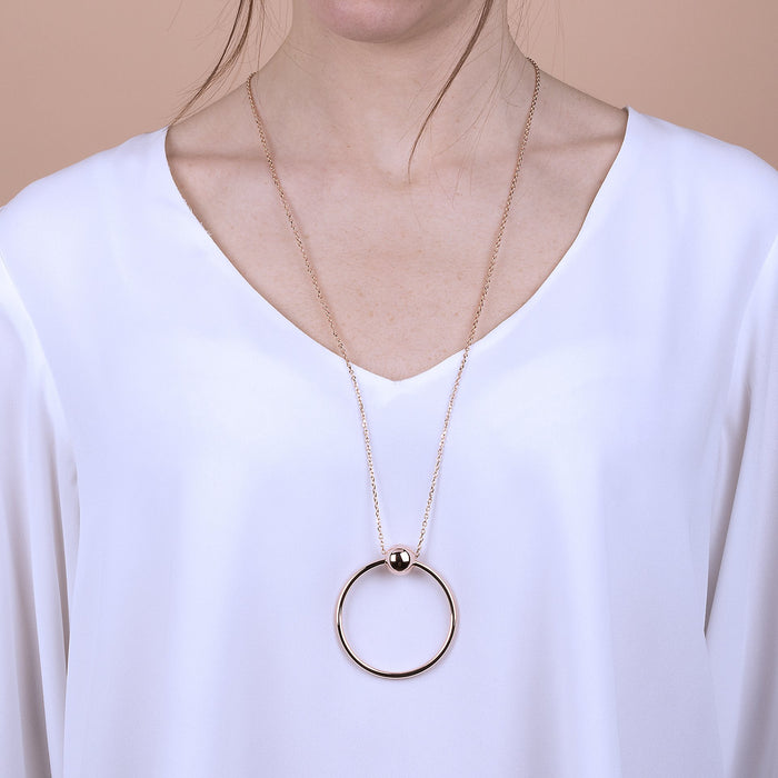 Circle Necklace with Ball Golden Rose