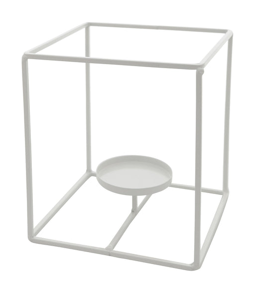 White Iron Candle Holder Stand - Large Cube