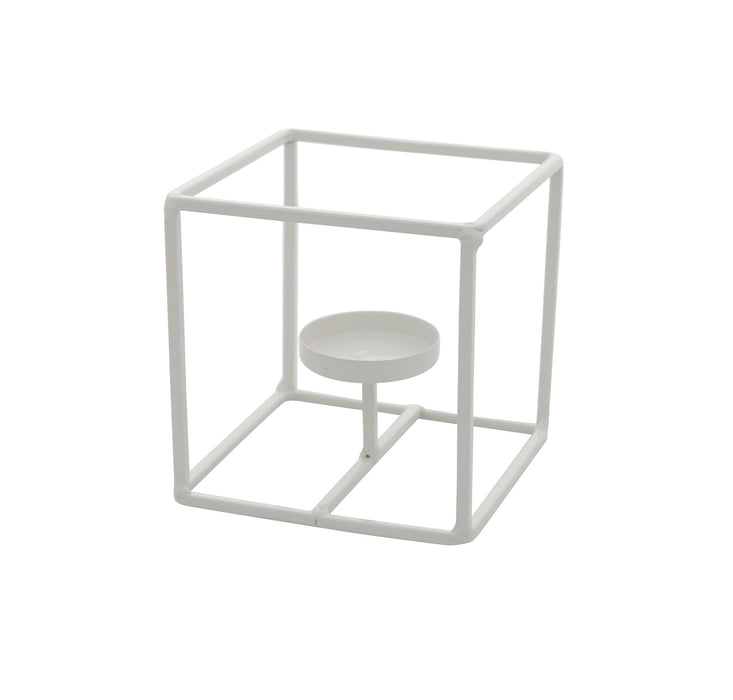 White Iron Votive Stand - Small Cube